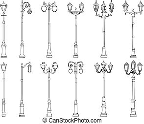 Vector illustrations of lamppost. - Set vector illustrations...