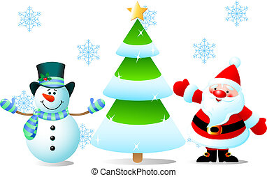 Santa - Vector illustrations of Santa Claus, Christmas Tree...