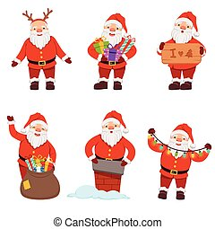 Vector illustrations of santaclaus in action poses. Christmas pictures set