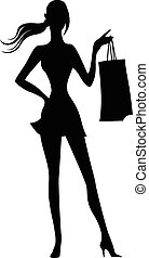 Silhouette of woman with shopping bags in hand