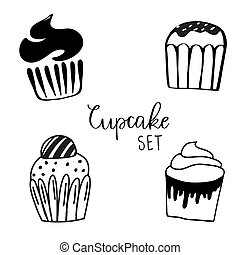 Vector illustrations of sweets. Set of different kinds of cupcakes decorated with candies, fruits and cream.