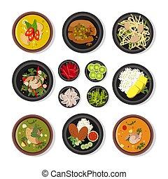 Vector illustrations of thai food. Vector icons pack isolate...