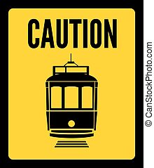 caution tramway sign
