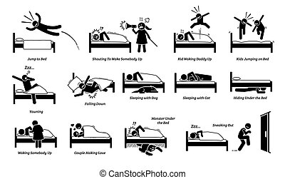 Vector illustrations of things that people do on bed.