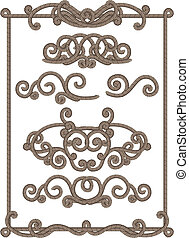 cord frame - vector illustrations - old-fashioned cord frame...