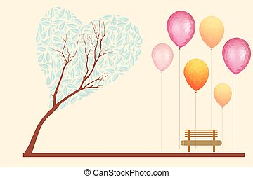 Vector illustrations park landscape with tree, bench, swings