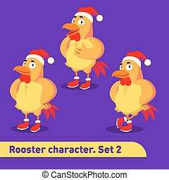 Vector illustrations set includes three standing poses of rooster character dressed in christmas suit in funny cartoon style