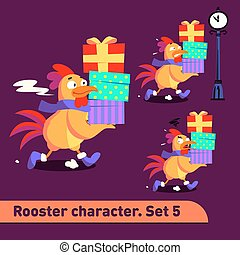 Vector illustrations set includes three running poses of rooster character with different emotions carying gift boxes dressed in christmas suit in funny cartoon style
