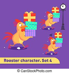 Vector illustrations set includes three running poses of rooster character with different emotions carying gift boxes in funny cartoon style