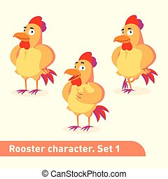 Vector illustrations set includes three standing poses of rooster character in funny cartoon style