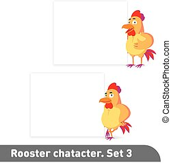 Vector illustrations set includes two standing poses of rooster character near white banner template in funny cartoon style