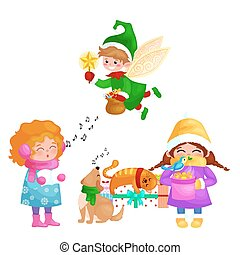 vector illustrations set Merry Christmas Happy new year, girl sing holiday songs with pets, cat and dog enjoy presents, elf flies using wings with magic wand star