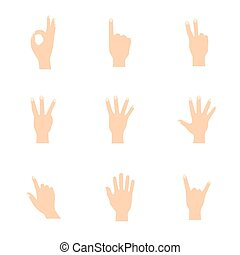 Vector illustrations set of woman hands in various gestures.