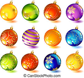 glass ball - vector illustrations - twelve christmas glass...