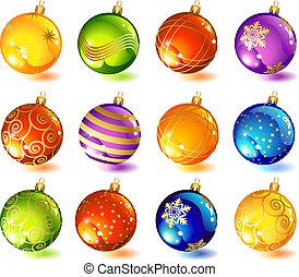 glass ball - vector illustrations - twelve christmas glass...