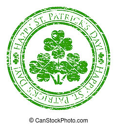 Vector illustrator of a grunge rubber stamp with four-leaves clover and text (happy st. patrick's day written inside the stamp) isolated on white background