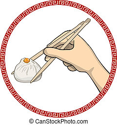 dumpling - vector illustrator of chinese food dumpling with...