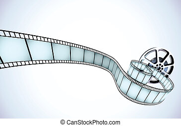 Vector illustrator of movie reel with a strip of exposed frames
