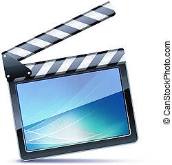 movie clapper board - Vector illustrator of open movie ...