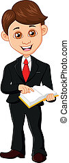 Businessman holding a book - vector illustrtion of ...