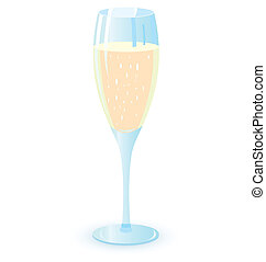 vector, illutration, champagne bril, twee