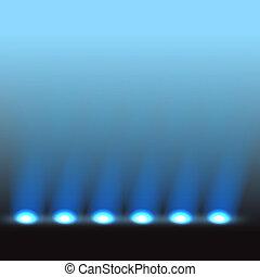 vector, iluminado, plantilla, etapa