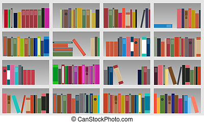 vector, ilustración, armariopara libros