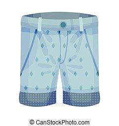 vector, ilustración, artículo, ropa, calzoncillos, azul, bolsillos, macho