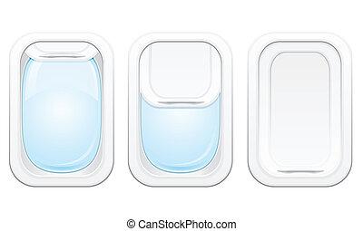 vector, ilustración, avión, portilla