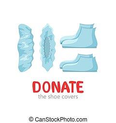 vector, ilustración, azul, zapato, donación, cubiertas