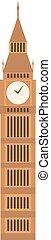 vector, ilustración, big ben, reloj, símbolo, de, londres, y, unido, kingdom.