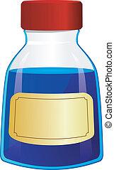 vector, ilustración, botella