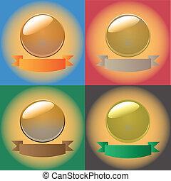 vector, ilustración, brillante, y, brillante, coloreado, esfera, conjunto