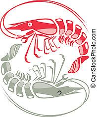 vector, ilustración, camarón