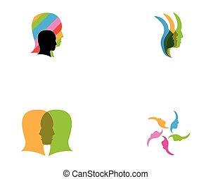 vector, ilustración, cara, humano