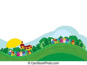 vector, ilustración, color, aldea