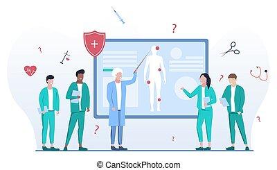 vector, ilustración, conferencia, escuela, médico
