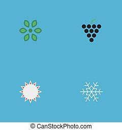 vector, ilustración, conjunto, de, simple, horticultura, icons., elementos, vino, flor, soleado, y, otro, synonyms, sol, copo de nieve, y, hate.
