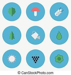 vector, ilustración, conjunto, de, simple, jardinería, icons., elementos, árbol, saco de arena, soleado, y, otro, synonyms, uva, boletus, y, can.
