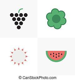 vector, ilustración, conjunto, de, simple, jardinería, icons., elementos, melón, soleado, vino, y, otro, synonyms, sol, sandía, y, hate.