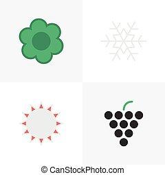 vector, ilustración, conjunto, de, simple, jardinería, icons., elementos, soleado, escama, de, nieve, vino, y, otro, synonyms, planta, uva, y, snowflake.