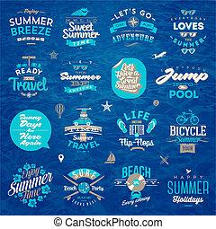 vector, ilustración, -, conjunto, de, viaje, y, vacaciones del verano, tipo, diseño