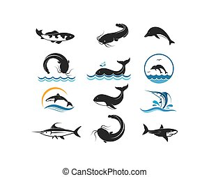 vector, ilustración, conjunto, pez, diseño, icono