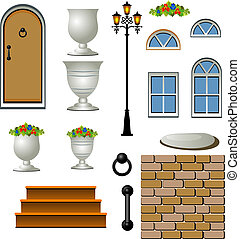 vector, ilustración, cottage.