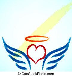vector, ilustración, de, ángel, icon.