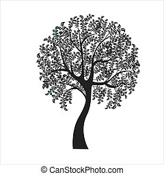 vector, ilustración, de, árbol, blanco, plano de fondo, -, ilustración