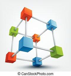 vector, ilustración, de, 3d, cubos