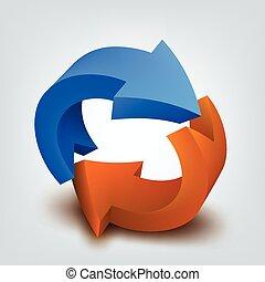 vector, ilustración, de, 3d, flechas, logotipo, diseño
