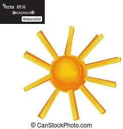 vector, ilustración, de, acuarela, sol