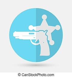 vector, ilustración, de, aislado, moderno, policía, icon.
